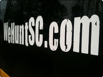 Close up view of WeHuntSC.com sticker on Hummer