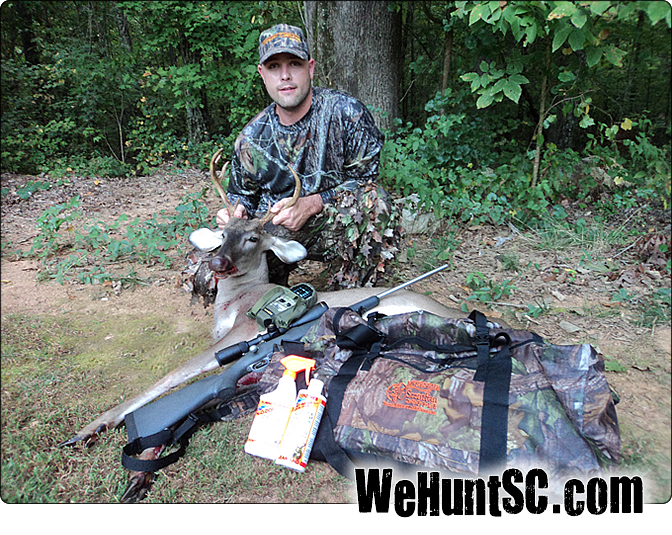 WeHuntSC.com - Clint Patterson with 8 point buck harvested in early 2010 deer hunting season