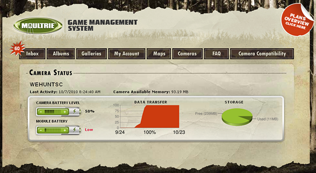 WeHuntSC.com - Moultrie Game Management System Camera Status View