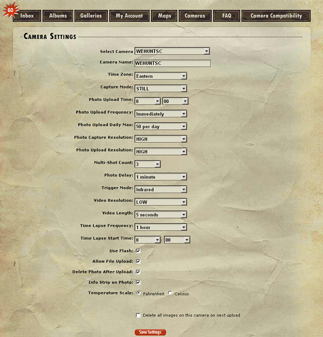 WeHuntSC.com - Moultrie Game Management System Settings View