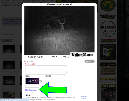 WeHuntSC.com - Commenting Feature Active on Media Gallery