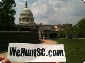 WeHuntSC.com - The WeHuntSC.com Sticker in Front of the Capitol Building in Washington DC