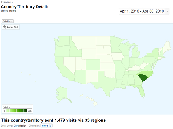 WeHuntSC.com - Site Traffic During Turkey Season - National Web Metrics Map Image