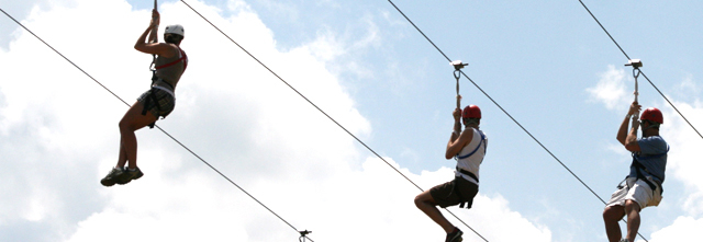 WeHuntSC.com - People riding the zip line