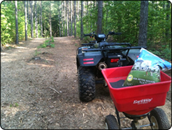 WeHuntSC.com - The 4-Wheeler and the Milorganite in the Remote Food Plot