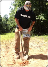 WeHuntSC.com - Adam Smith taking a soil sample