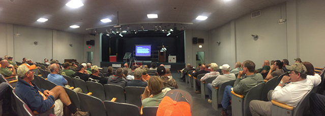 A panoramic view of the crowd in Lancaster SC to hear Charles Ruth speak on the deer management legislation