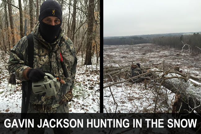 Gavin Jackson coyote hunting in the snow