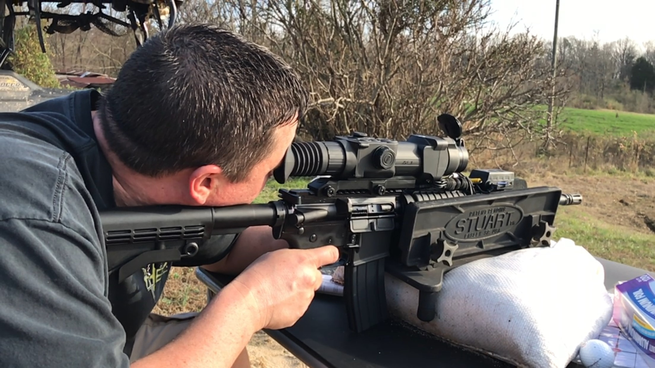 Gavin Jackson sighting in Anderson Arms AR-15 with Pulsar Thermal Scope