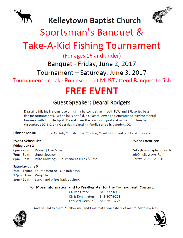 Kelleytown Baptist's 2017 Sportsman's Banquet & Take-a-Kid Fishing Competition