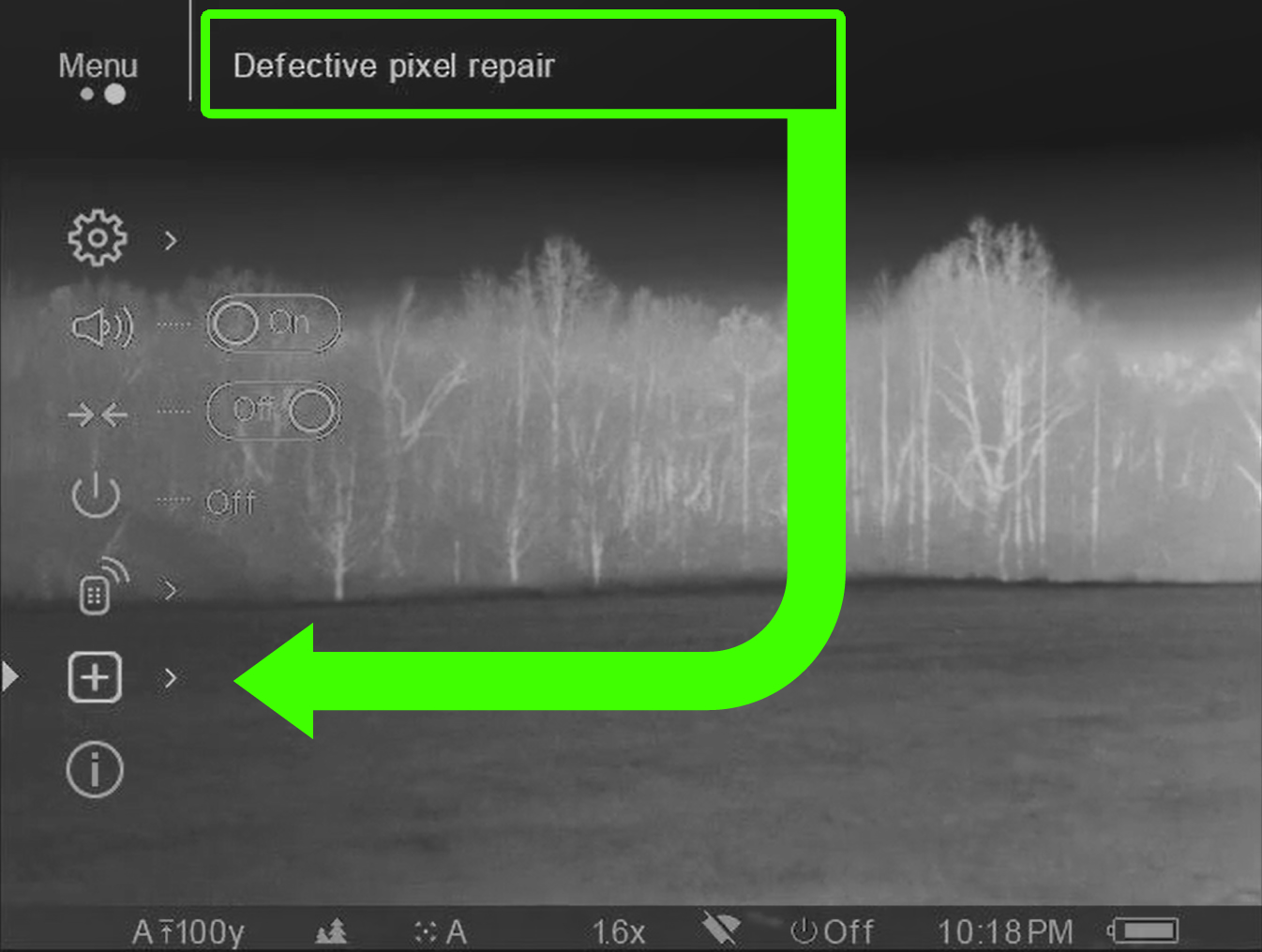 Screenshot of the Defective Pixel Repair menu option in a Pulsar Trail XP-50 Thermal Scope