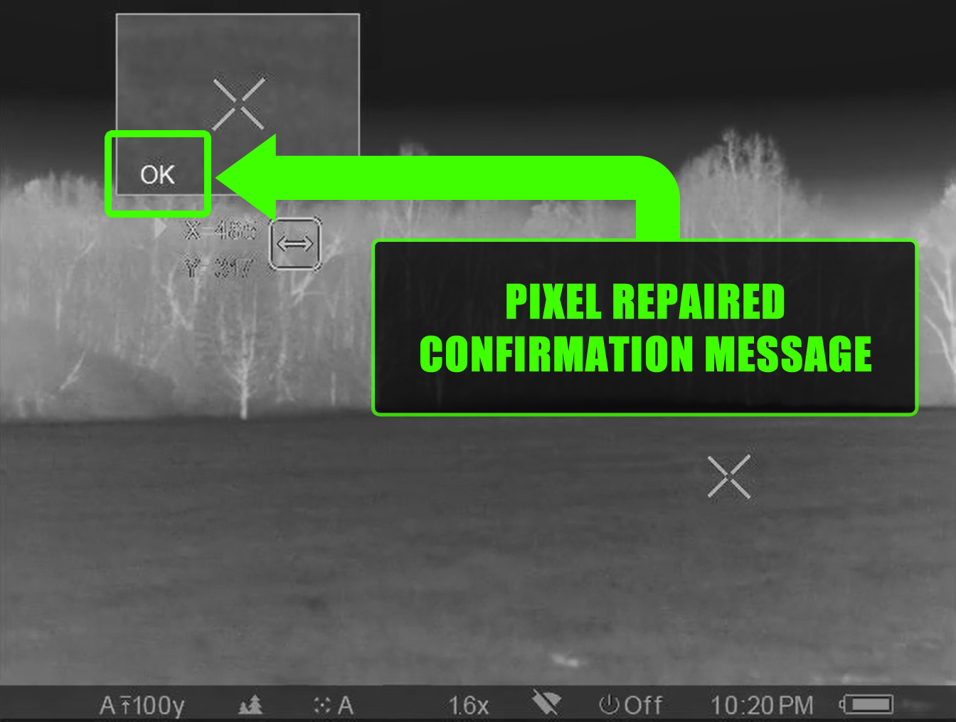 Screenshot of the pixel repair confirmation message in a Pulsar Trail XP-50 thermal scope