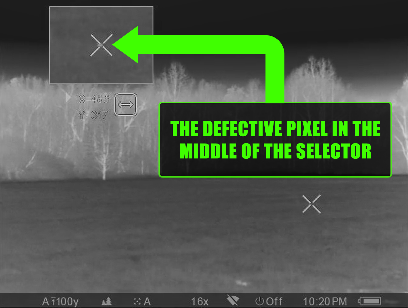Screenshot of the defective pixel in the middle of the XY coordinate selector in a Pulsar Trail XP-50 thermal scope